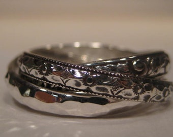 3 band Rolling Ring  ... One Antique Band . One Hand Hammered Band . One New Leaf Band ..Rolling  Ring ... Sterling Silver ... COOL!