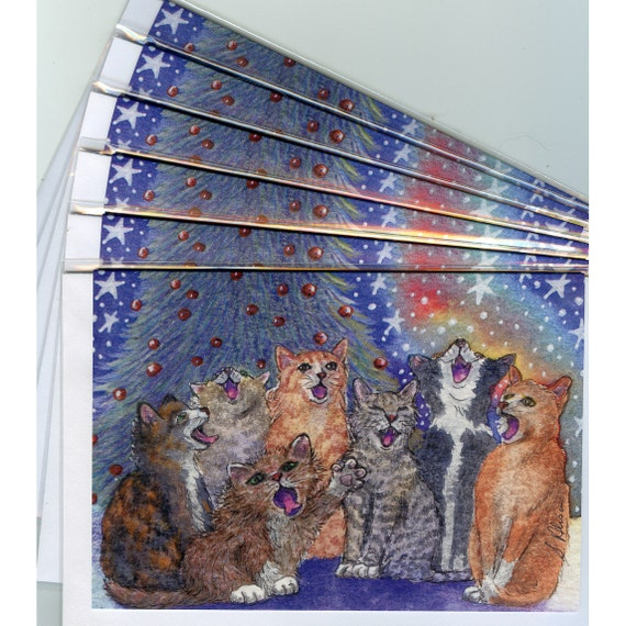 6 x carol singing cat holiday greeting cards choir choral music in harmony tabby ginger from Susan Alison watercolor painting