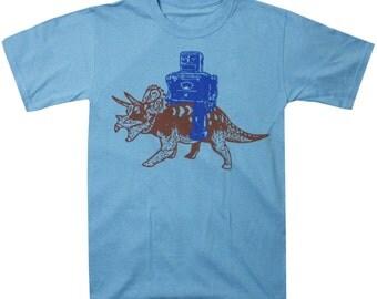 Robot Riding a Triceratops Dinosaur T Shirt nerdy shirt Mens Tshirt