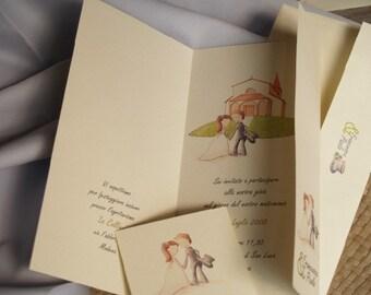 Triptych - Customized Wedding Invitation 10 pcs