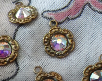 Swarovski Crystal AB Brilliant Glass Tiny Daisy Drops 6 Pcs