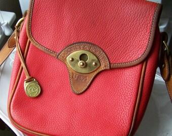 REDUCED Vintage Red Dooney and Bourke Cavalry Handbag Early 1980s, Vintage Handbag, Leather Handbag, Red Handbag, British Tan