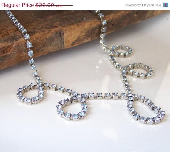 Etsy, Vintage Light Blue Rhinestone Necklace, Vintage Necklace, Necklace, Etsy Jewelry, Etsy Vintage, Vintage, Costume Jewelry, Gift