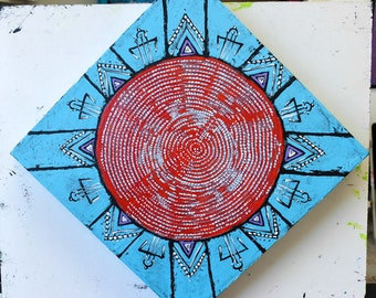 Original Mandala Art: Trade Beads Native Inspired Painting