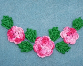 3 shaded pink cotton crochet applique roses/flowers with leaves --  1777