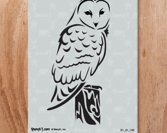 Barn Owl Stencil- Reusable Craft & DIY Stencils- S1_01_140 -8.5x11- By Stencil1