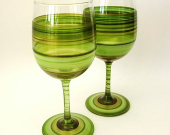 Pair Hand Painted Green Wine Glasses- Original Home Decor- Irish Moss