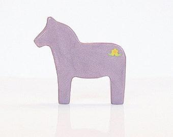 Purple Lilac Dala Horse Figurine with Flowers