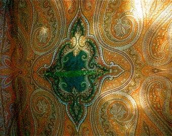 Vintage 1800s Kashmire Wool Shawl - Jacquard Woven Paisley Wrap Piano Shawl Cutter Piece