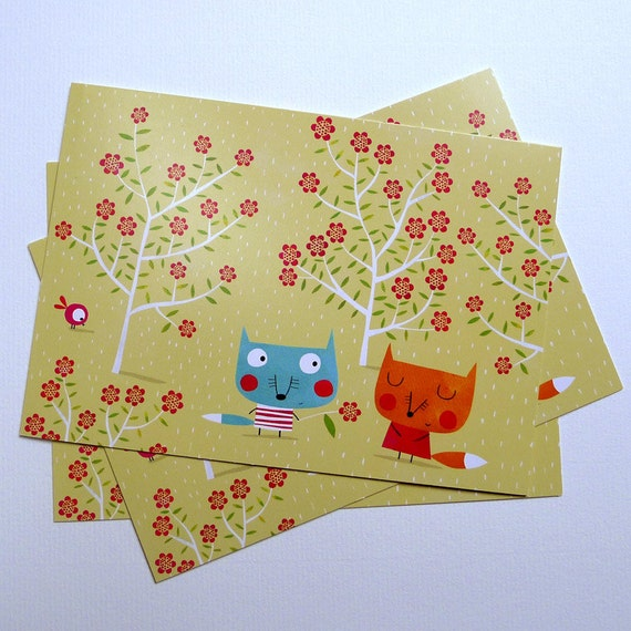 The wolf felt in love, postal card CP002