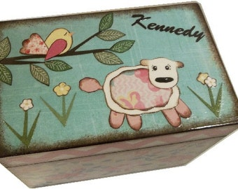 Wishes for Baby Box, Baby Shower Box, Holds 4x6 Wishes Cards, Decorative, Gift for Baby or Child, Whimsical Lamb, Baby Storage MADE TO ORDER