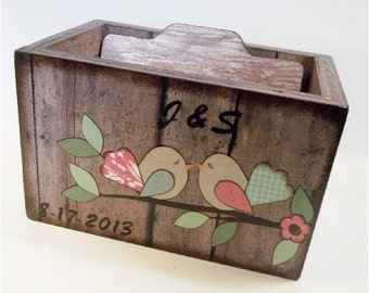 Wedding Guest Book Box, Recipe Box, Wedding Card Box, Bridal Shower, Storage, Holds 5x7 Cards, Chevron,Tree, Birds and More, MADE TO ORDER