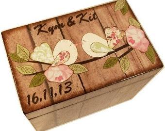 Wedding Guest Book Box Alternative, for 4x6 Index Cards, Wedding Recipe Box, Rustic Love Birds, Bridal Organization, Storage, MADE TO ORDER