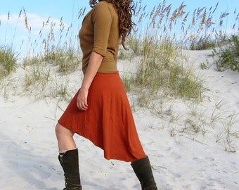 Organic Mullet Wanderer Short Skirt ( light hemp and organic cotton knit ) - organic fishtail skirt