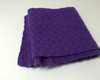 Handknitted Purple Wool Scarf
