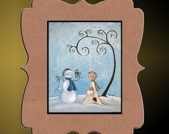 Whimsical  Art Print   - Heart of Ice - 8x10 - Creeper  - Whimsical Tree - Hedgehog - Owl