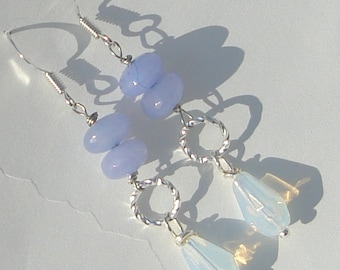 soft lavender jade rondelle and moonstone teardrops pierced dangle hand made wire wrapped earrings by Ziporgiabella