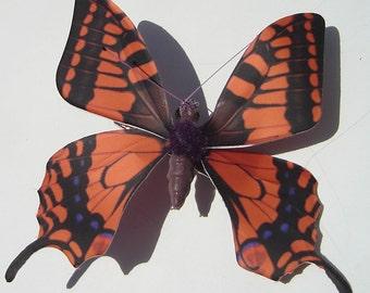 Halloween butterfly orange brown purple swallowtail butterfly hand made hair clip