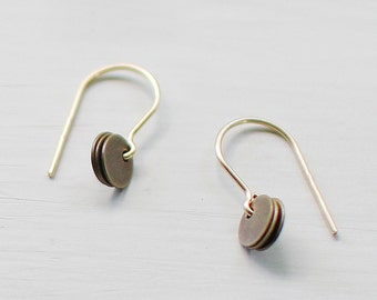 "tiny brass and gold earrings - dainty minimalist earrings - ""mora"" earrings by elephantine"
