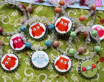 Colorful Owls Girl Teen Birthday Party Favor Bracelet 6pk