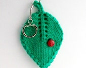 handknit keychain, lucky ladybug on a leaf, mint green, cotton fabric