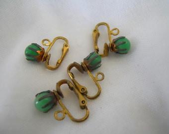 Vintage Green Bead Clip Earrings