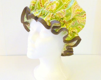 Vintage Shower Caps Green Paisley, Adult Size  - Wipeable and Washable, BPA FREE