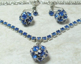Vintage sapphire blue rhinestone earring and necklace set