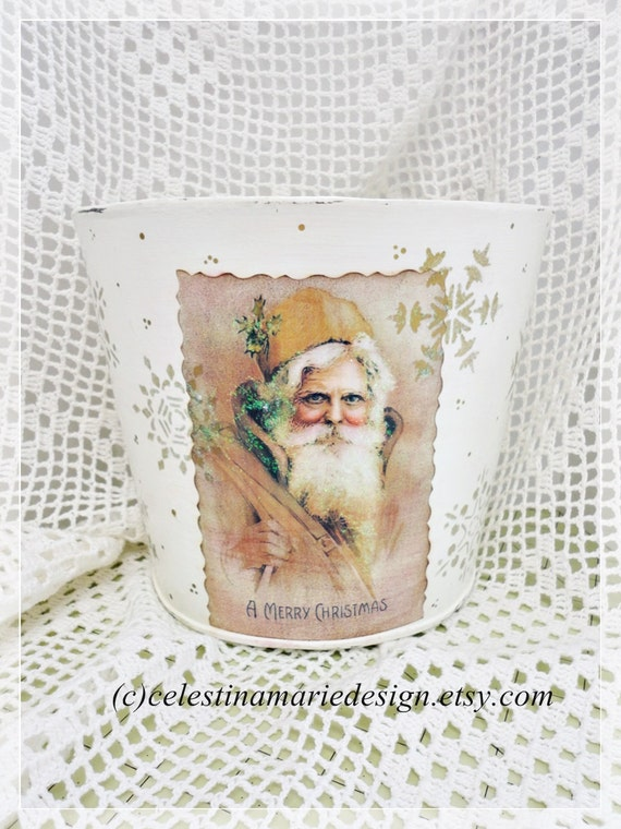 A Merry Christmas Half Bucket Holder for Cards, Door Decor, Hand Painted and Designed, CSSTeam, ECS