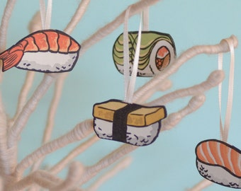 Letterpress Christmas ornaments, SUSHI set of 6, made from hand-painted linocut prints