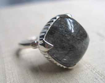 SALE-The Amphora Ring- Tourmalated Quartz and Sterling Silver