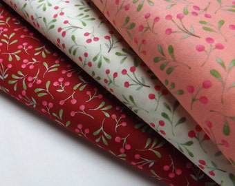 P & B Textiles Clara 3 Meter Bundle White Coral Red Small Berries Whimsical Fabrics Quilting and Sewing Print