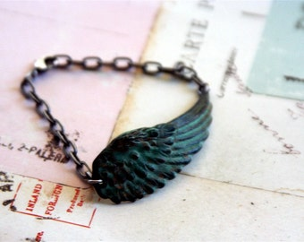 wing cuff. bracelet. chain style silver ox and patina colors