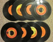 Eight Vintage 45 RPM Records - 1970s -  Retro Room Decor - CLEARANCE