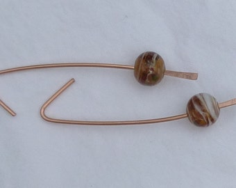 copper and marbled brown glass bead dangle earrings