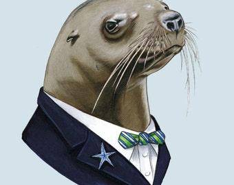 Sea Lion Gentleman art print 5x7