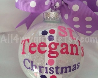 Baby's First Christmas Ornament Glass Glitter Ball with Ribbon Bow Personalized Dated 2015