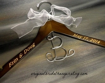 Elegant Bridal Hanger Monogram Wire Letter Engraved Names Engraved Date Brown Wood Hanger Bridal Hanger With Date Photo Prop