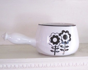 Mid Century Modern Pot - Black and White - Stoneware Cheese Crock