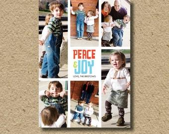 Modern holiday card, photo Christmas card, peace and joy