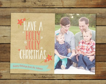 Kraft holiday card, Holly Jolly christmas photo card, holly jolly christmas card, printable holiday card, kraft paper and poinsettias
