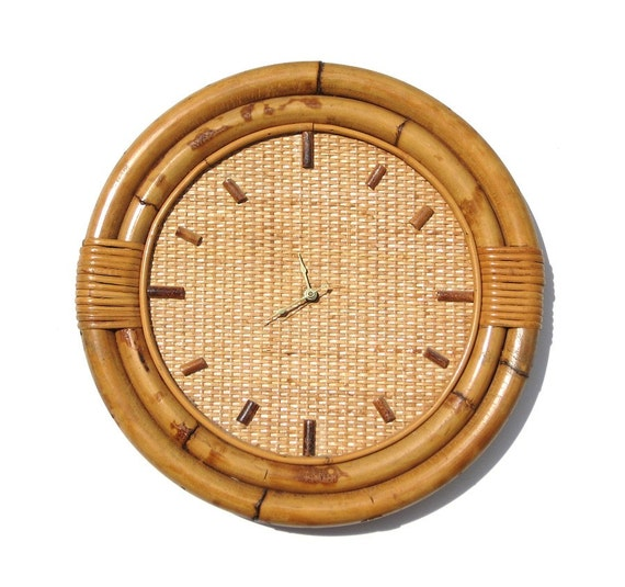 1950s Tiki Wall Clock Rattan Amp Bamboo Excellent Condition