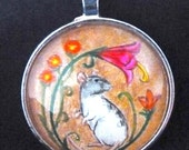 Decorative Hooded Rat with Flowers Pendant/Key Ring Unique Wearable Art for the Rat Lover