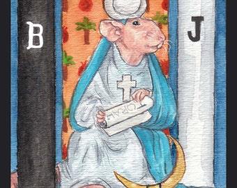 The High Priestess: The Rata Arcana Tarot. Blank card for the mystical rat lover.
