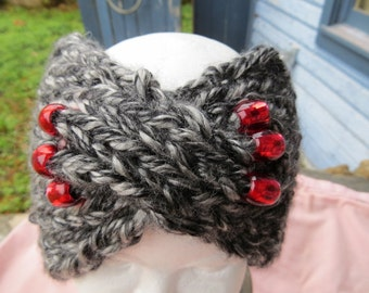 Head Band, Turban, Beads, gray,
