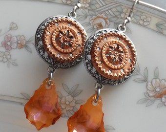 Blaze, Antique Button(c.1800's) Earrings