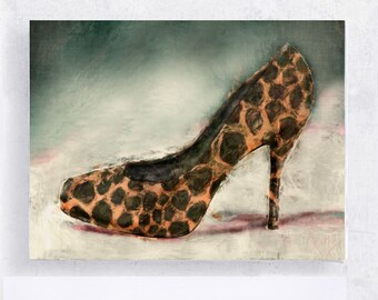 Shoe Art - Fashion Art - Animal Print High Heel Still Life - 5x7 Canvas Print on Art Block  - Women - Dressing Room Art