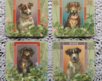 Lucky Dogs -- St. Patrick's Day Vintage Greeting Card Mousepad Coaster Set