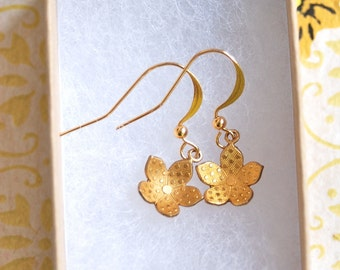 Little gold flower dangle earrings. Tiedupmemories