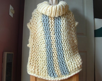 Chunky knit pullover vest cowl neck slouchy drop shoulder in pale yellow and grey stripes for medium large extra large plus women